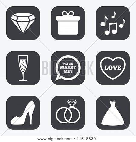 Wedding, engagement icons. Rings, gift box.