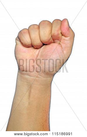 Hand Show Fist Or Stop Sign Isolated On White
