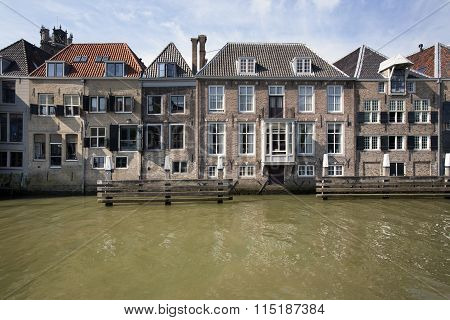 Canal Houses In Dordrecht In The Netherlands