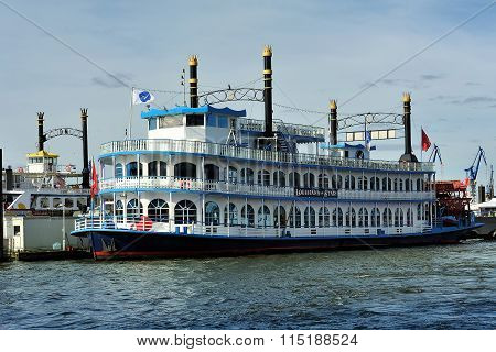 Paddle Steamer Louisiana Star Ferry Docked In The Port, Hamburg,
