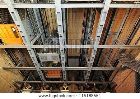 Elevators In The Old Elbe Tunnel (elbtunnel), Hamburg, Germany