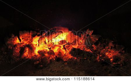 Bright Charcoal Without Flame