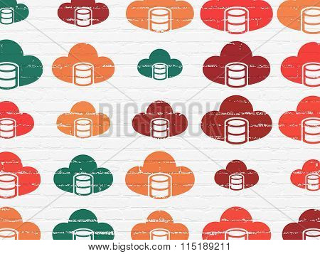 Programming concept: Database With Cloud icons on wall background