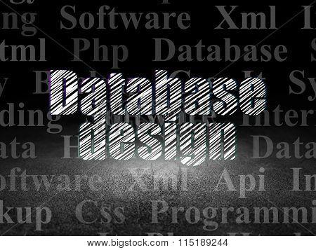 Programming concept: Database Design in grunge dark room