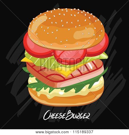 Fish Burger isolated on chalkboard. Classic fastfood. Illustration in vintage style. Vector burger.  Cartoon burger illustration.