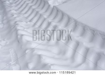 Truck Tire Tracks On Snow.