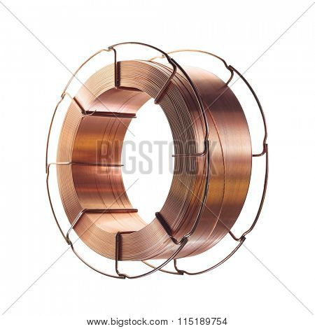Copper wire on spool, isolated on white backgrounds, with clipping paths