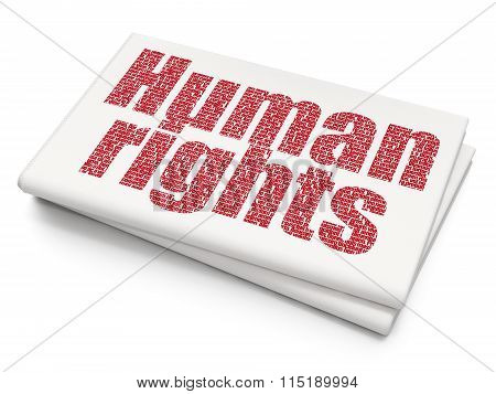Political concept: Human Rights on Blank Newspaper background
