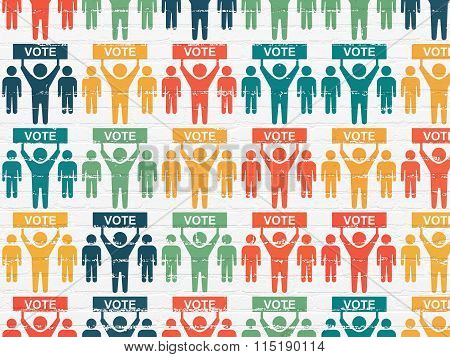 Political concept: Election Campaign icons on wall background