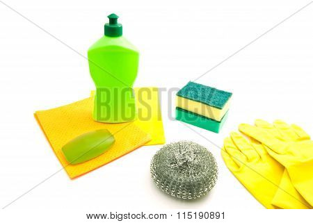 Bottle, Rags, Soap And Gloves