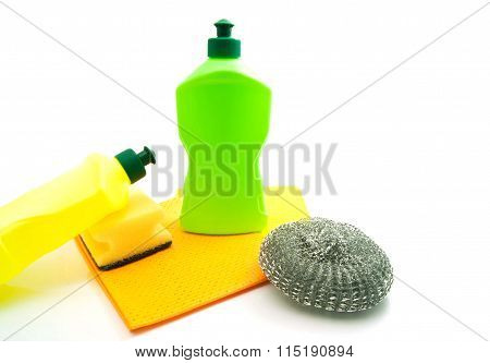 Two Bottles, Rags And Sponges