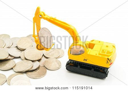 Russian Coins And Backhoe