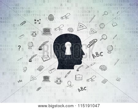 Learning concept: Head With Keyhole on Digital Paper background