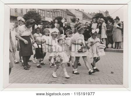 Vintage photo shows religious (catholic) celebration circa 1943.