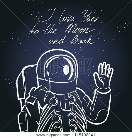 Spaceman, astronaut. Vintage typography hand drawn vector illustration