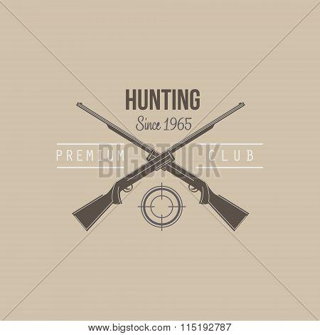 Hunting Vintage Emblem with Guns and Dog