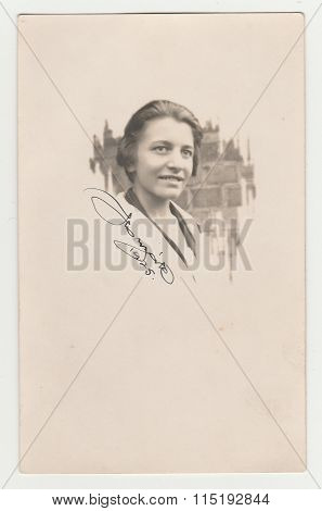 Vintage portrait of woman with her signature and date circa 1925.