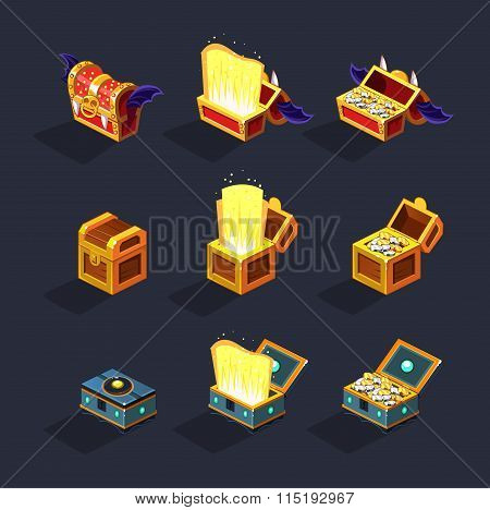 Chest Set for Game Resource. Vector