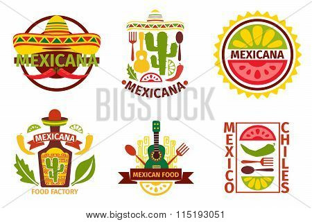 Mexican food vector logo, labels, emblems and badges set