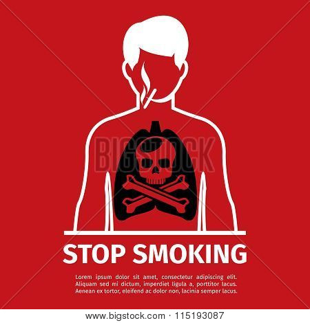 No Smoking poster. Man with skull and cross bones