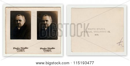 Front and back of vintage studio portrait photo of man 1925.