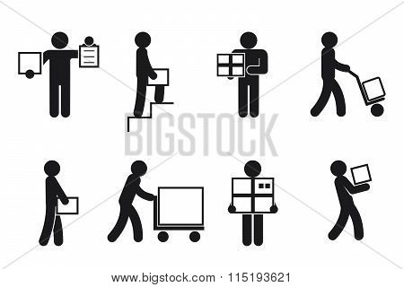 Delivery man poses vector