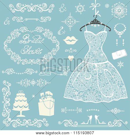 Bridal shower decoration set.Winter wedding with dress