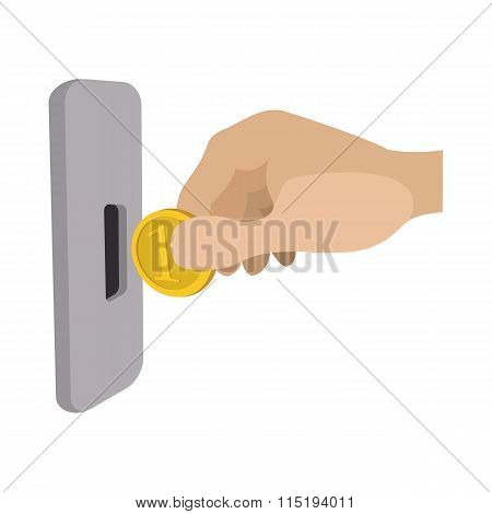 Human hand inserting coin in slot machine icon