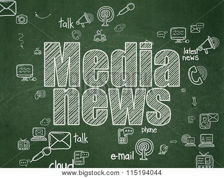 News concept: Media News on School Board background