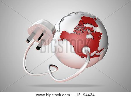 Electric power cable and plug point connect to a brightly colored North America on a world globe