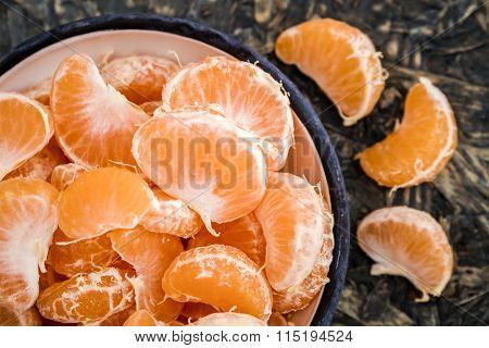 Ripe Juicy Mandarin Fruits On Blue Background