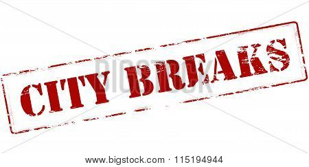 Rubber stamp with text city breaks inside vector illustration