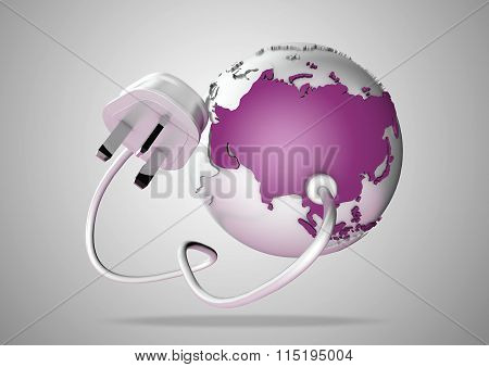 Electric power cable and plug point connect to a brightly colored country Asia on a world globe
