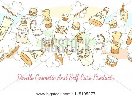 Doodle cosmetic and self care products hand drawn background