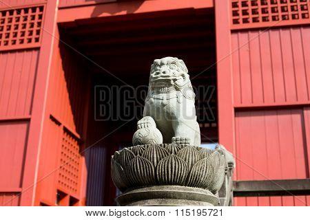 Stone guardian lion dog with Japanese