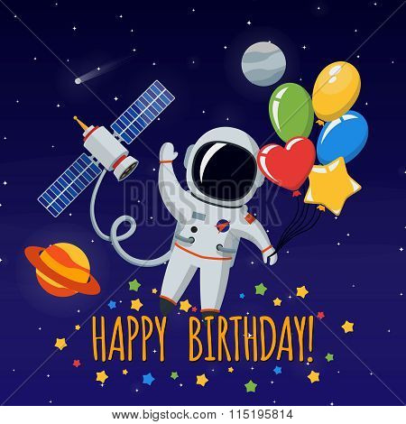 Cute astronaut in outer space. Vector background