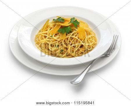 spaghetti with bottarga, italian cuisine