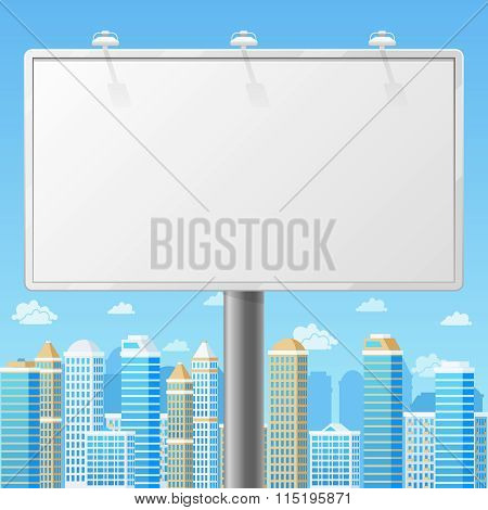 Blank billboard with urban background