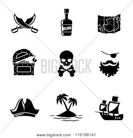 Pirates icons vector set