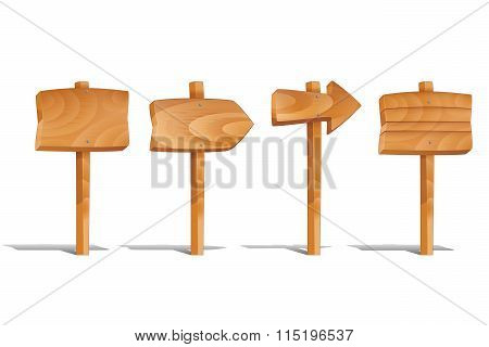 Wooden signs set isolated on white background