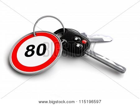 Car keys with driving speed limit on key ring. Concept for speeding or obeying the traffic laws of t