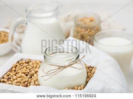 Soy milk in a glass jar