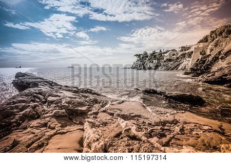 Summer Landscape With Sea Shore And Rocks Wide Angle Photography.