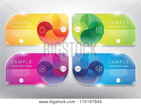 Abstract vector banners with swirl design set of 4.
