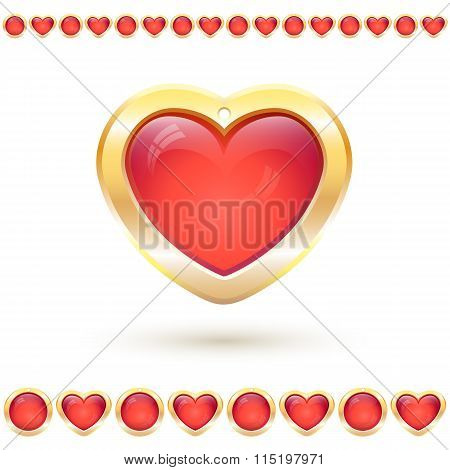 Vector illustration with translucent red heart in golden frame