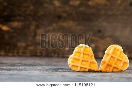 Waffles in the shape of a heart