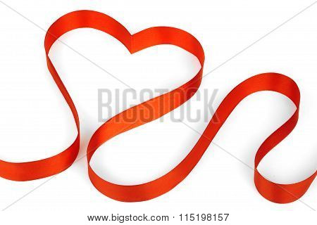 Red ribbon shaping heart