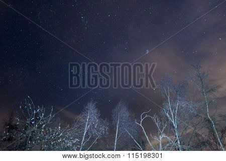 Starry Sky With Capella And The Pleiades From The Alps