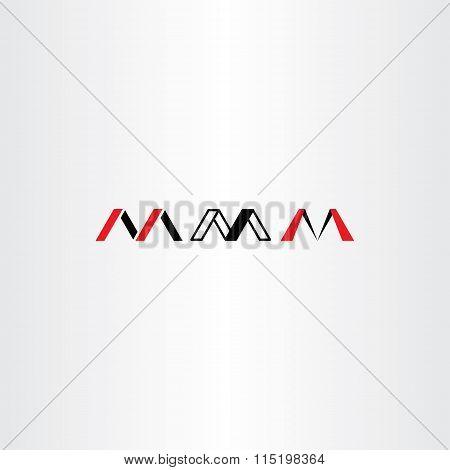 Logo Letter M Set Red Black Icon Vector
