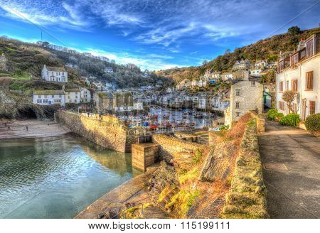 Polperro Cornwall England UK English south west coast fishing village with houses in HDR
